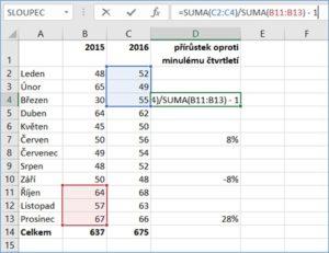 Excel - odkazy ve vzorcích