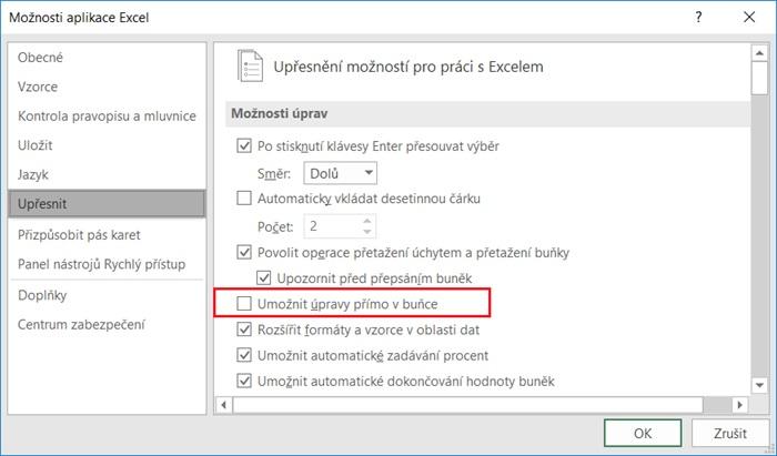 Excel - Možnosti - Upřesnit