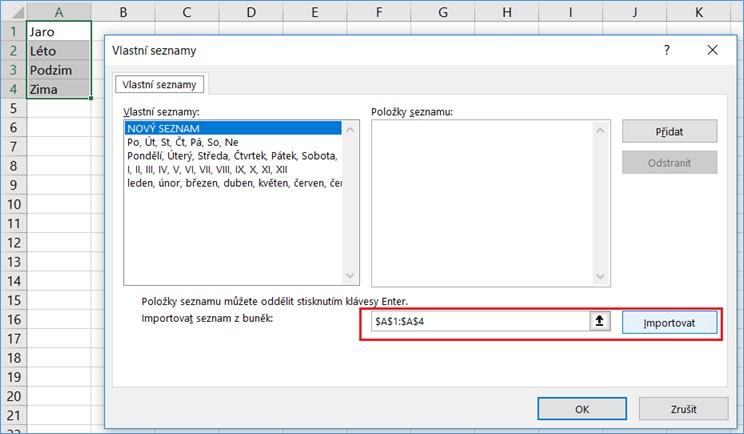 Excel - Možnosti - Vlastní seznamy